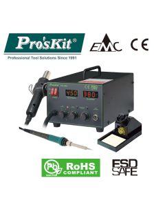 SS-989B Pro'sKit Паяльная станция цифровая двухканальная (паяльник 60Вт, фен 24л/мин, LED-индикация, антистатическая защита)